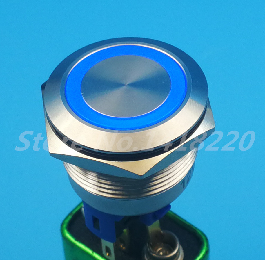 Free shipping 5Pcs 22MM Metal Switch illuminated Ring with Blue LED 12V Indication Momentary Push Button Waterproof<br>