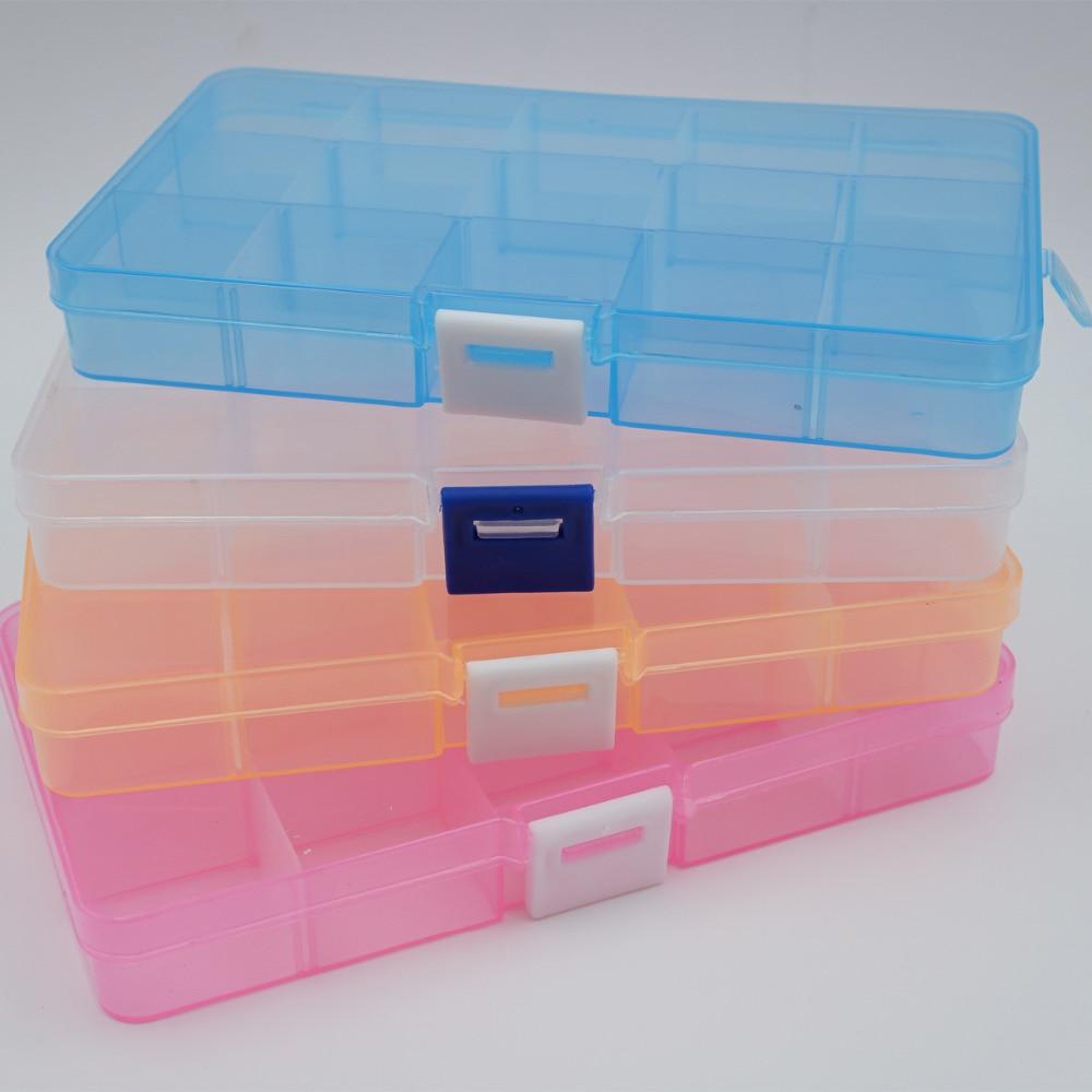 Plastic 15 Slots Compartment Jewelry Adjustable Necklace Tool Box Case Craft Organizer Plastic Craft Organizer Home t49