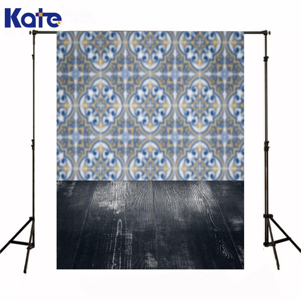 Kate Backdrop Newborn Baby White Walls Blue Garland Photography Backdrop  Wood Floor Background For Photo Shoot<br>