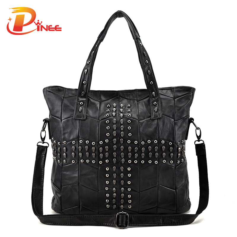 Fashionable Women Messenger Bags Skull Handbags Rivets Bag Genuine Leather Large Capacity Tote Bags<br><br>Aliexpress