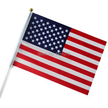 Fashion American Flag 14x21cm Polyester Hand Waving National Flag USA with Plastic Flagpoles Home Decor.10 pcs /lot(China)