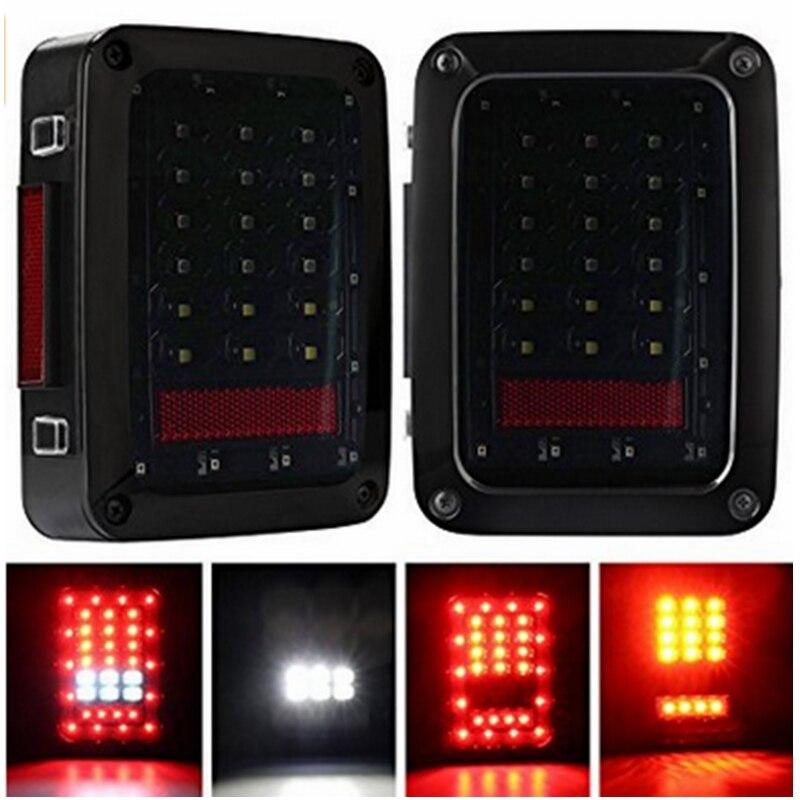 LED Tail Lights for 2007-2016 Jeep Wrangler JK Brake Reverse Light Rear Backup Turn Signal Parking Lamp 2pcs<br>