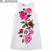 W.L.MONSOON Girls Rose Flower Dress Summer 2017 Brand Handmade Children Princess Costumes Kids Dresses Robe Enfant Girls Clothes