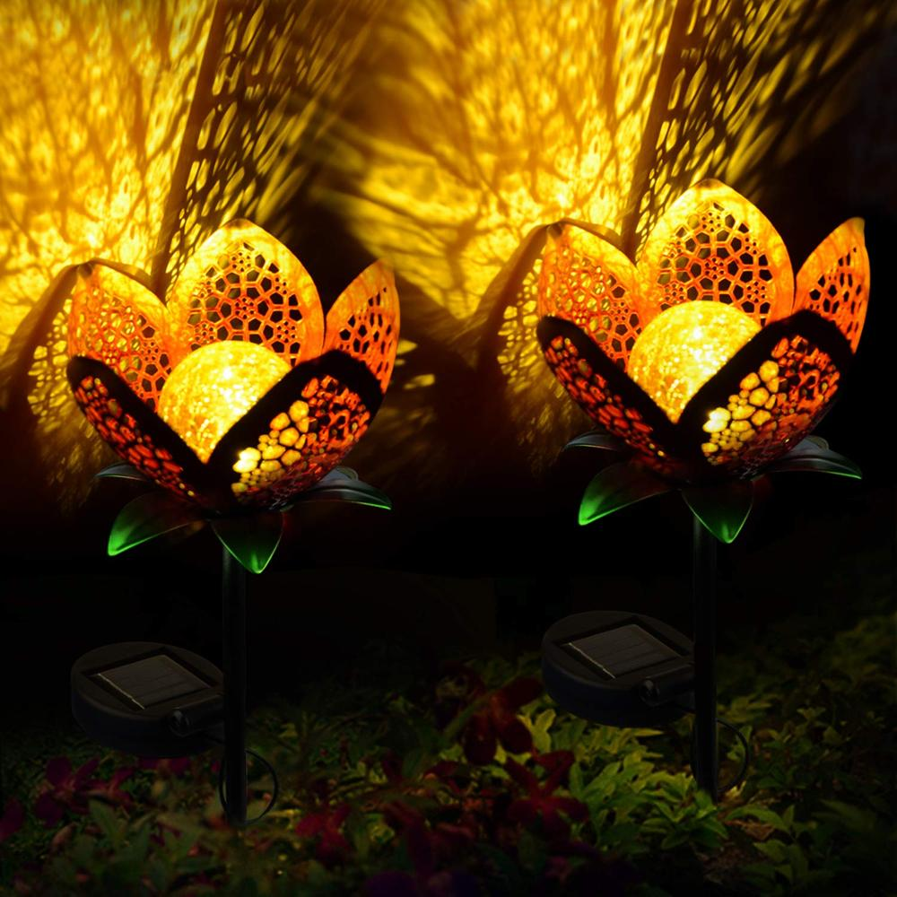 Solar Garden Outdoor Lights Pathway Hollow Flower Stake Lights Waterproof Landscape Led Decorative Light for Patio Walkways