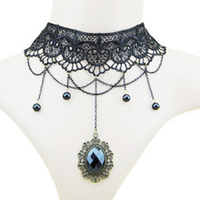 2015 European And American Fashion New Gothic Imitation Gemstone Necklace Retro Black Lace Imitation Pearl Necklace Wholesale