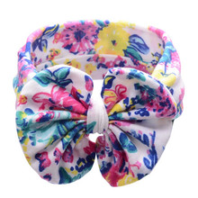New 2017 Fashion Cute Girl Elastic Polyester Floral Printed Bowknot Decorated Headband Hair Band Bohemia Mini Headdress