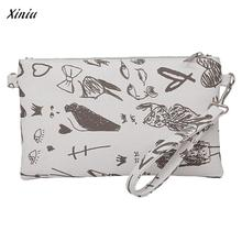 Fashion Graffiti Women's Clutch Bag Female purse Billetera mujer Slim walles Envelope Bag Clutch Bag Female Handbag(China)
