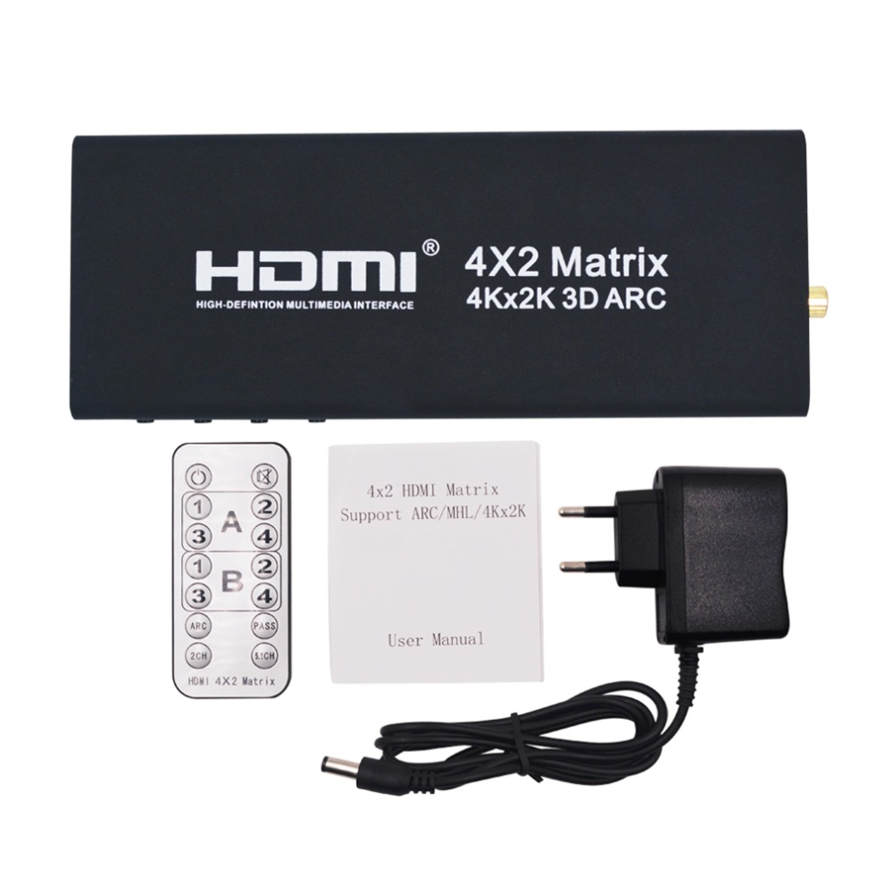 4x2 HDMI Matrix HDMI Switch Switcher HDMI Splitter Support ARC 4Kx2K Splitter Hub Box For PS3 For Xbox 360 EU Plug Type<br>