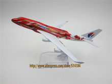 16cm Metal Alloy Plane Big Red Flower Air Malaysia Airlines Boeing 747 B747 400 Airways Airplane Model w Stand Aircraft  Gift