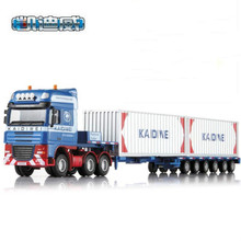 high quality big size high quality alloy Engineering Vehicle model children toy cars- low bed transporter truck 1:50 in box(China)