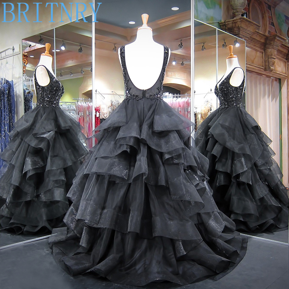 Long-Puffy-Prom-Dresses-2018-V-neck-Sleeveless-Top-Beaded-Crystals-Ball-Gown-Backless-African-Black