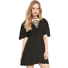 Lace Up Front Women Summer Dress Short Sleeves Deep V Neck Sexy Party Dress A Line Back Zipper Casual Mini Bandage Dress Vestido