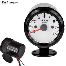 "EE support  2"" 52mm Universal Automobile Clock Black Case White Dial Pointer Indicator Blue Led RPM Tachometer Gauge Meter XY01"