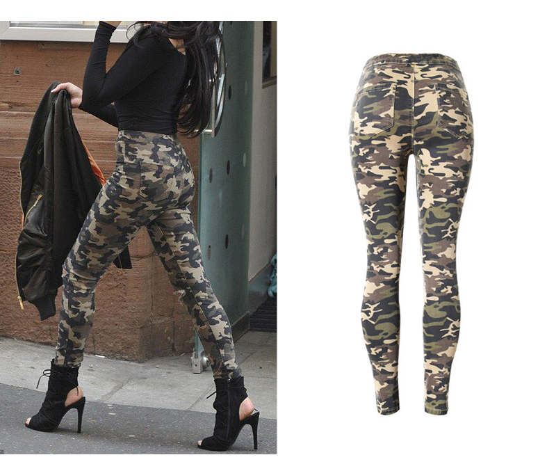 2017 New Brand Women Fitness Cloth Camouflage High Waist Elastic Stretch Holes Jeans Pencil Pants Street Style Denim Trousers (7)