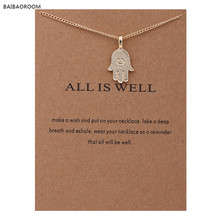 Fashion Jewelry Necklaces & Pendants Gold-color All Is Well Hamsa Choker Necklace Women