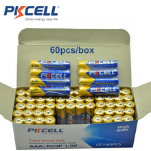 60pcs/box PKCELL 1.5V Carbon Battery AAA 3A 1.5 V R03P Carbon-Zinc R03 UM-4 AAA Primary Dry Battery 4/shrink wrap packing