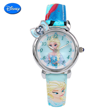Genuine Disney Frozen Elsa princess girls simple wristwatch Kid best rhinestone pink blue watches Children cartoon quartz watch(China)