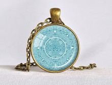 2017 Maxi Necklace Collier Collares Mayan Calendar Pendant Necklaces Blueaztec Astronomy Archaeology Jewelry Gift MenHZ1(China)