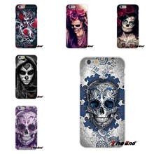 Cool Floral Sugar Skull Flower Pattern Silicone Phone Case For Huawei G7 G8 P8 P9 Lite Honor 5X 5C 6X Mate 7 8 9 Y3 Y5 Y6 II