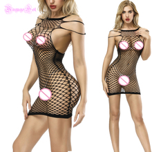 Buy Fishnet Sleeveles Erotic Sexy Strappy Lingerie Babydoll Teddy Latex Catsuit Body Stocking Costumes Dress Porn Cotillon 2018