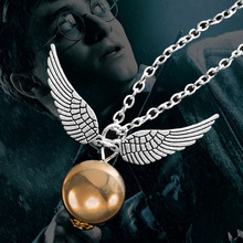 Harry Porter European Film Movie Fashion  Round Beads Angle Wing Pendant Necklace V1564