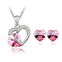 Crystal from Swarovski Design Bridal Wedding Dress Jewelry Sets for Woman Heart Elements Pendant Necklace Stud Earring Set Gift