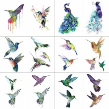 Buy WYUEN 12 PCS Bird Hummingbird Temporary Tattoo Sticker Women Men Body Art Adults Waterproof Hand Fake Tatoo 9.8X6cm W12-13 for $3.18 in AliExpress store