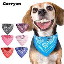 Carrywon Printed PU Leather Pet Collars Comfortable Durable Triangle Scarf Dog Collar Leather Adjustable Puppy Collar for Dogs(China)