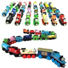 10pcs/lot Thomas and His Friends Kids Wooden Toy Cartoon Magnetic Trains Model Great Kids Christmas Toys Gifts for Children(China)