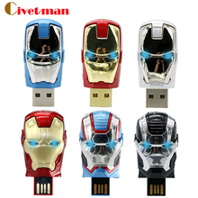 Special offer Iron man pen drive 8gb 16gb 32gb Metal man USB memory flash card+ LED light flash drive Superman pendrives