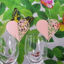 50pcs Pink/ White Hollow Out Heart Wine Glass Name Place Cards Wedding Decoration