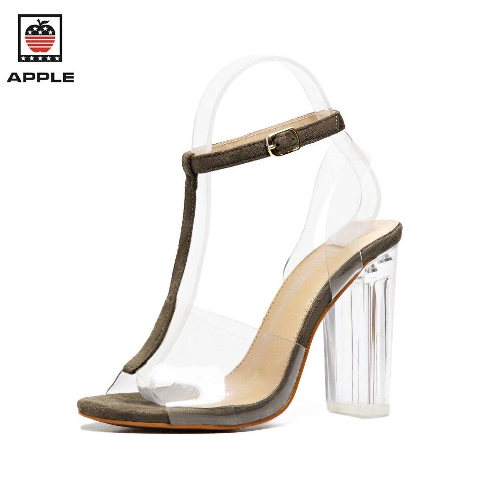 APPLE 2017 new summer high heels sandals women pumps gladiator Transparent T-Strap shoes woman<br><br>Aliexpress