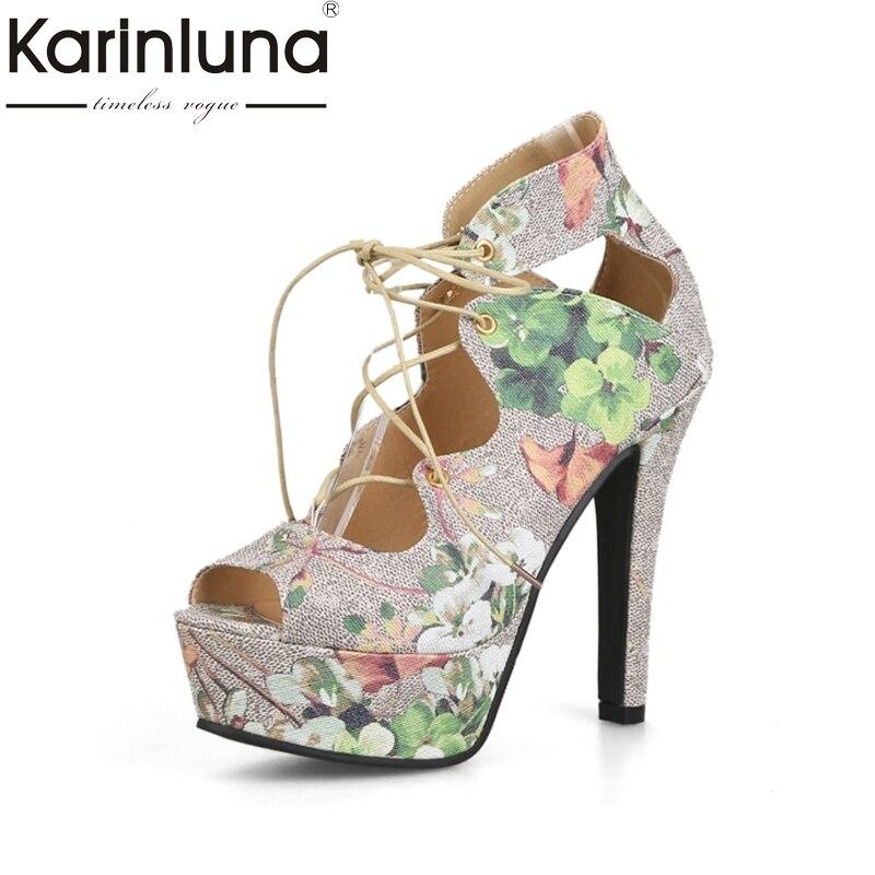 KARINLUNA Brand Big Size 33-43 Peep Toe Platform Women Shoes Sexy Super High Heels Princess Style Woman Sandals Flower Printing<br>