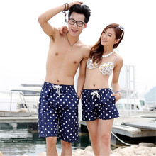 *New Simple Women Men Blue Stars Print Short Pants Beach Surf Board Swim Shorts Trunks Swimsuit Couple Stylish