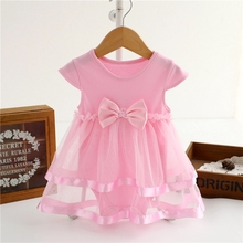 Summer Newborn Baby Girl Dress Cotton Bow Baby Rompers For girls Kids Infant Clothes Baby Girls Dresses(China)