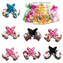 1Pair New Lovely Cartoon Hello Kitty PVC Cute Hair Clips Headwear baby Girl Hair Accessories Kids Party Gift Hair Jewelry