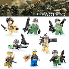 World War 2 WW2 The Pacific War Japan VS US Navy Army Military Small Army Figure Model Building Block Toys  with weapons SY614