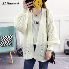 2017 Winter Warm Women's Sweaters Jacket Cotton Loose Green White Knitting Sweater Long Sleeve Cardigan Clothes Female Casual