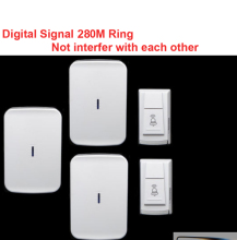 wireless door bell 2 emitter+3 receiver & power by AA battery doorbell Waterproof 280 Meter door chime door ring digital signal