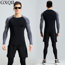 GXQIL Three Pieces Men Tracksuits Football Gym Running Jogging Boys Fitness Shorts Pants Long Sleeve Tights Workout Sportswear
