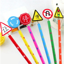 6Pcs/lot Cartoon pencil color pencil traffic sign pencil creative cartoon student stationery Free shipping(China)