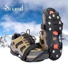Soumit 10 Stud Manganese Steel Ice Gripper Spikes for Shoe Anti Slip Climbing Snow Crampons Cleats Chain Claws Grips Boots Cover(China)