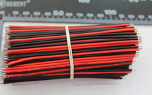 Free shipping! 50pair/pack 10cm power wire cable,22AWG color wire, antioxidant Tin Plated Copper Wire ,easy to welding