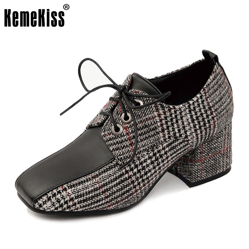 KemeKiss Size 33-43 Office Lady Vintage High Heel Shoes Fashion Square Toe Cross Strap Pumps  Square Heel Work Daily Footwears<br>