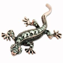 Metal Alloy Lizard Animal Brooch Rhinestone Brooches For Female Pins Lapel Pin Women Wedding Scarf Clip Collar Tips Hijab Pin