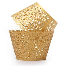 12X Filigree Vine Cake cupcake paper s Cases Wedding Birthday Decorations Gold/blue/grey