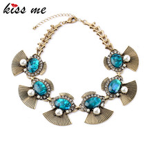 Summer Best Seller Fan-Shaped Shell Paper Bib Pendants Ms Vintage Noble Imitation Emerald Necklace Factory Wholesale