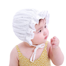Princess Newborn Baby Girl Hat Lace-up Sequins Baby Bonnet Enfant Sleep Cap for 0-2 Years White/Coffee