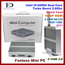 8GB RAM+256GB SSD Fanless Desktop PC Embedded PC Mini Industrial Computer with Core i5 4200U,2*COM RS232,4*USB3.0,HDMI,Wifi(Hong Kong)