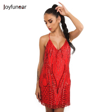 Joyfunear 2017 Sexy Deep V Sequin Backless Luxury Slip Dress Sleeveless Evening Party Short Camisole Vestidos Nightclub Wear(China)